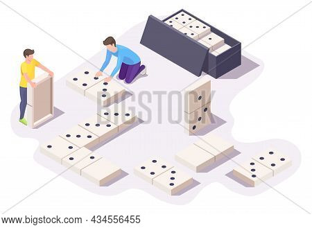 Two Boys Friends Playing Dominoes Board Game Sitting On Floor, Vector Isometric Illustration. Home L
