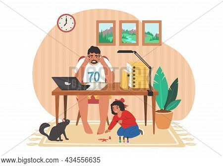 Stressed Dad Working On Computer While Naughty Kid Preventing Him Doing His Work, Vector Illustratio