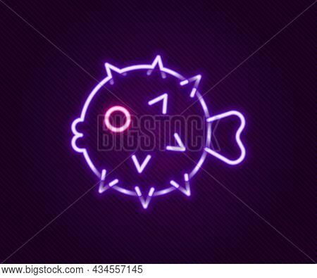 Glowing Neon Line Fish Hedgehog Icon Isolated On Black Background. Colorful Outline Concept. Vector