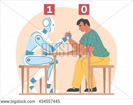 Artificial Intelligence Vs Human, Flat Vector Illustration. Arm Wrestling Fight Between Robot Machin