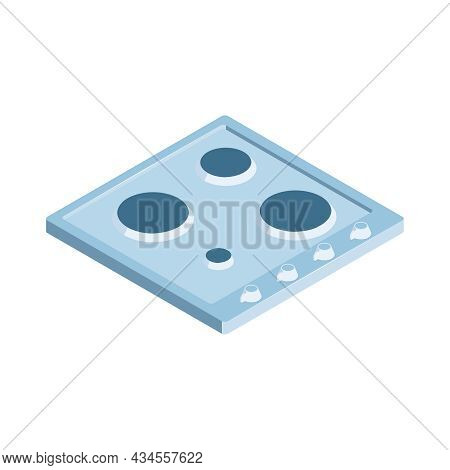 Isometric Icon With Gas Stove Cooking Surface And Four Burners 3d Vector Illustration