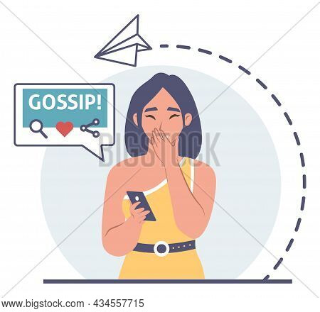 Amazed Girl Looking At Smartphone Closing Mouth With Hand, Gossip Chat Bubble, Vector Illustration.