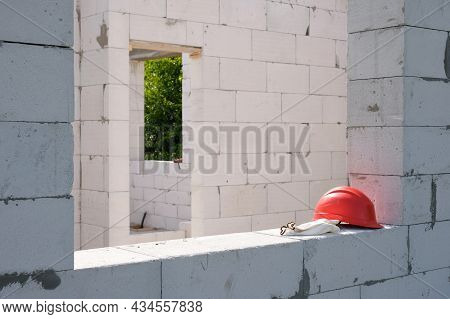 Part Of A Residential Building Under Construction At A Construction Site.