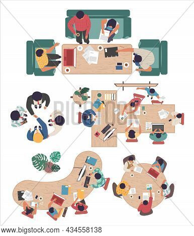 People Discussing Project Startup, Company Strategy, Vector Illustration. Boardroom Meeting, Confere