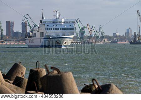 Klaipeda, Lithuania - September 25: Tt-line Sweden Ferry Marco Polo At September 25, 2021 In Klaiped