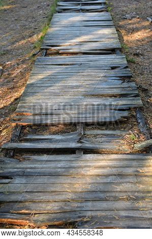 Damaged Broken Wooden Trail In The City Park, Wooden Danger Trail.