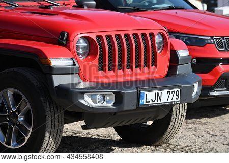 Klaipeda, Lithuania - September 25: New Car Jeep Wrangler Display At A Chrysler Dealership At Septem