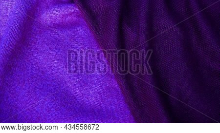 Background From Purple Silk Fabric. Textile, Copy Space From Silk Fabric. Background For Text.