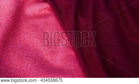 Background In Pastel Shades Of Pink And Brown From Silk Fabric. Textile, Copy Space From Silk Fabric