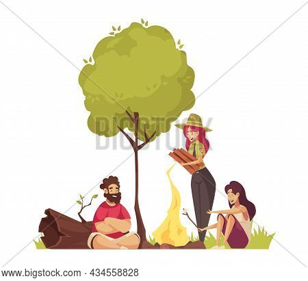 Forest Ranger Cartoon Composition With People Making Fire Vector Illustration