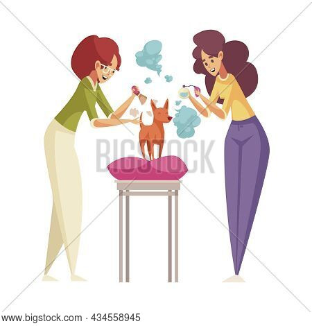 Grroming Flat Icon With Two Women Scenting Small Dog With Perfume Vector Illustration