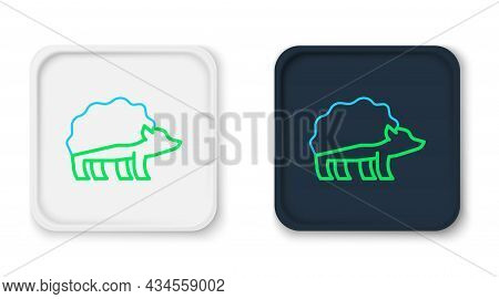 Line Hedgehog Icon Isolated On White Background. Animal Symbol. Colorful Outline Concept. Vector