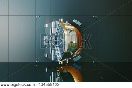 Open Bank Vault With Golden Walls. 3d Render
