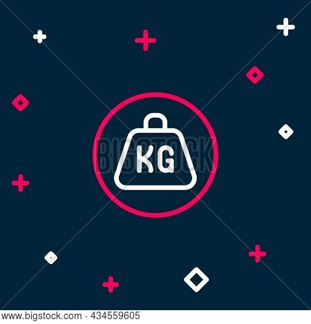 Line Weight Icon Isolated On Blue Background. Kilogram Weight Block For Weight Lifting And Scale. Ma