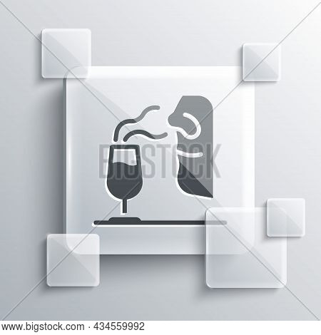 Grey Sommelier Icon Isolated On Grey Background. Wine Tasting, Degustation. Smells Of Wine. Square G