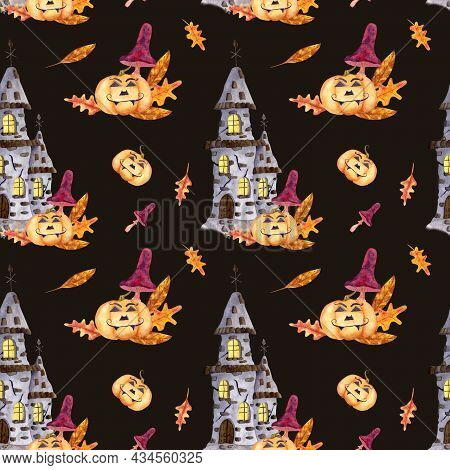 Happy Halloween Watercolor Seamless Pattern With Old Stone Castle With Luminous Windows, With Pumpki