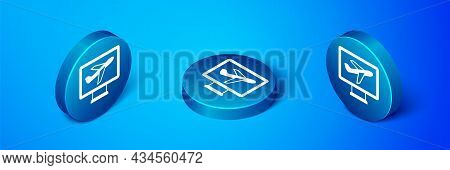 Isometric Plane Icon Isolated On Blue Background. Flying Airplane Icon. Airliner Sign. Blue Circle B