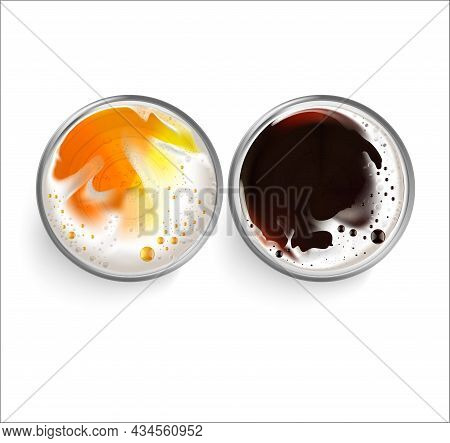 Realistic Detailed 3d Beer Glass With Foam Set Top View. Vector Illustration Of Pint Alcohol Beverag