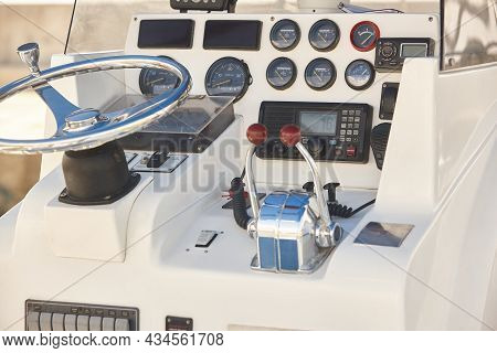 Yacht Dashboard. Nautical Navigation System. Cockpit Instruments. Yachting