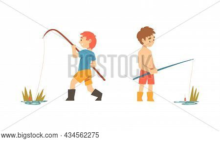 Boy Character In Fisherman Boots With Angling Rod Fishing Vector Set