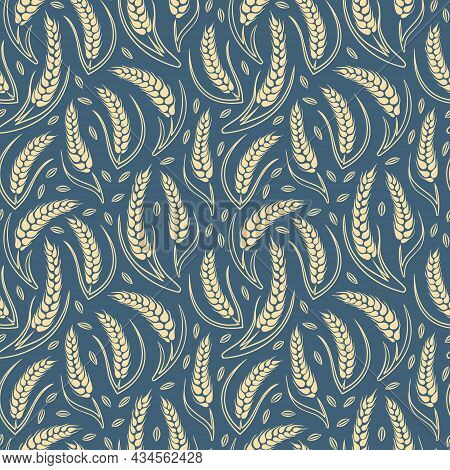Cereal Seamless Pattern. Hand Drawn Wheat Background. Vector Illustration.