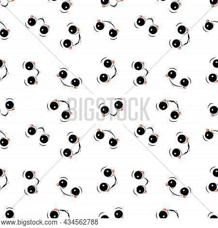 Seamless Pattern With Faces And Happy Emotions. Print With Joyful And Laughing Smiles