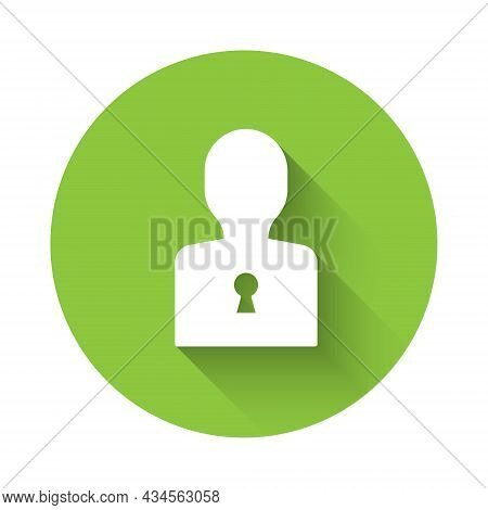 White Solution To The Problem In Psychology Icon Isolated With Long Shadow Background. Key. Therapy