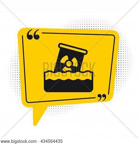 Black Radioactive Waste In Barrel Icon Isolated On White Background. Toxic Waste Contamination On Wa