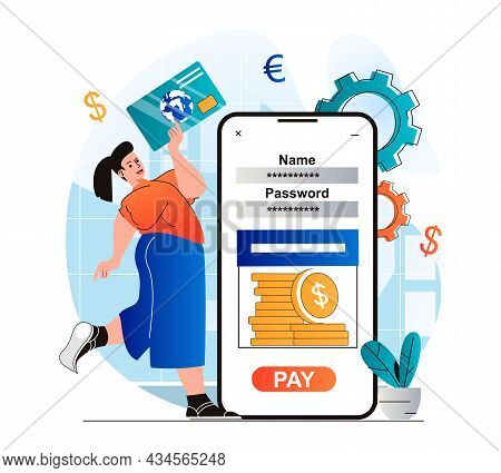 Mobile Banking Concept In Modern Flat Design. Woman Accessing Financial Account And Credit Card In M