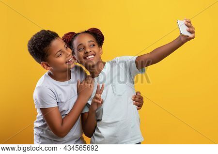 Cute Afro-american Siblings Taking Selfie Together On Cellphone