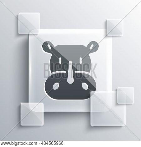 Grey Rhinoceros Icon Isolated On Grey Background. Animal Symbol. Square Glass Panels. Vector