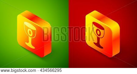 Isometric Medieval Goblet Icon Isolated On Green And Red Background. Holy Grail. Square Button. Vect