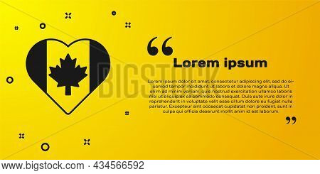 Black Heart Shaped Canada Flag Icon Isolated On Yellow Background. Love Canada Symbol. Vector