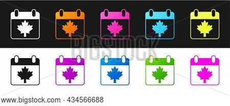 Set Canada Day With Maple Leaf Icon Isolated On Black And White Background. 1-th Of July Independenc