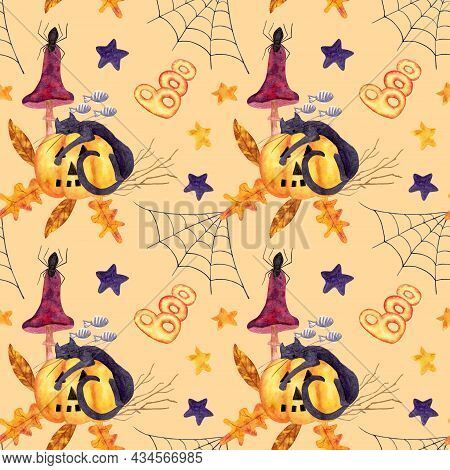Halloween Watercolor Pattern With A Sleeping Cat On A Pumpkin In The Leaves And Branches Of Trees, T