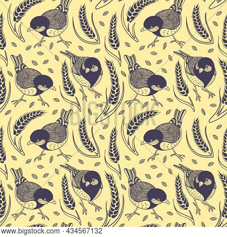 Seamless Pattern With Tits And Cereals. Floral Hand Drawn Background. Vector Illustration.