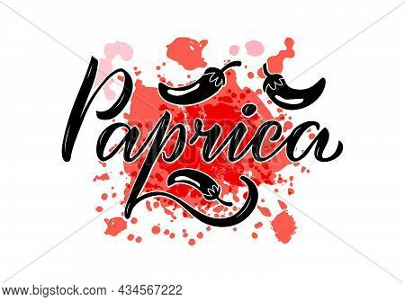 Vector Illustration Of Paprica Lettering For Packages, Product Design, Banner, Spice Shop  Price Lis