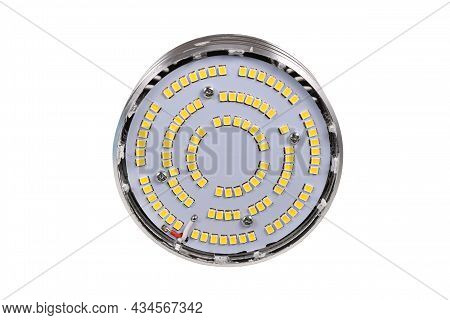 Inside Of Led Lamp With Many Small Light Emitting Diodes With Lid Taken Off On White Background