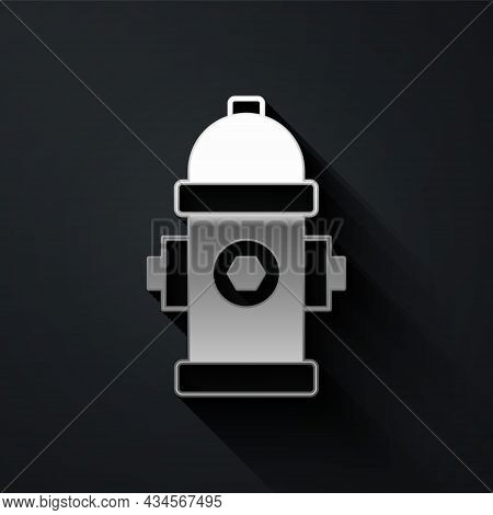 Silver Fire Hydrant Icon Isolated On Black Background. Long Shadow Style. Vector
