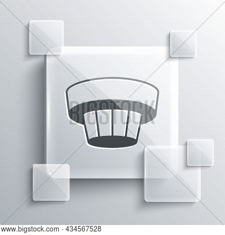 Grey Smoke Alarm System Icon Isolated On Grey Background. Smoke Detector. Square Glass Panels. Vecto