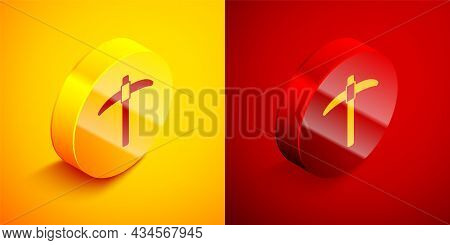 Isometric Pickaxe Icon Isolated On Orange And Red Background. Circle Button. Vector