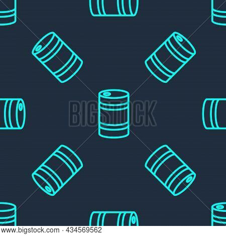 Green Line Metal Beer Keg Icon Isolated Seamless Pattern On Blue Background. Vector