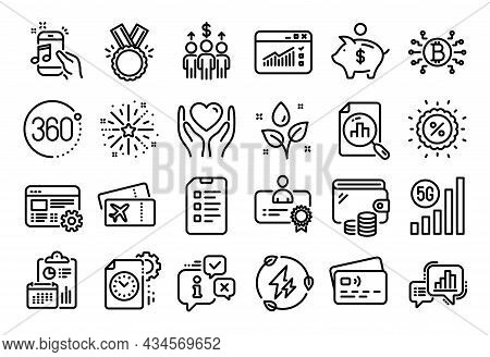 Vector Set Of Project Deadline, Meeting And Certificate Line Icons Set. Calendar Report, Money Walle