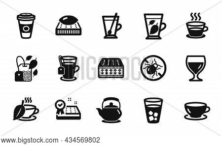 Vector Set Of Coffee Cup, Tea And Mint Bag Icons Simple Set. Bed Bugs, Mint Leaves And Teapot Icons.