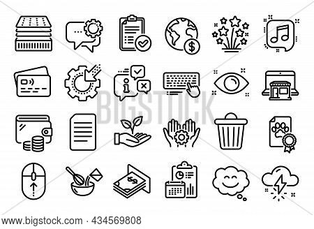 Vector Set Of Smile Chat, Document And Approved Report Line Icons Set. Calendar Report, Money Wallet