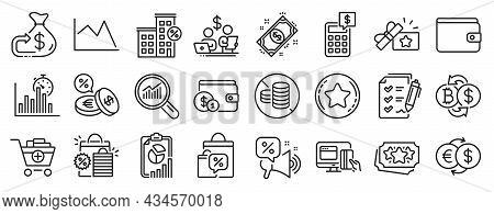 Set Of Finance Icons, Such As Loyalty Points, Line Chart, Survey Checklist Icons. Payment, Calculato