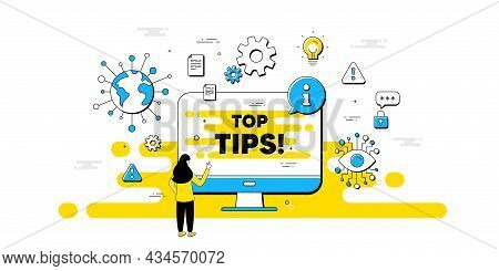 Top Tips Symbol. Internet Safe Data Infographics. Education Faq Sign. Best Help Assistance. Top Tips