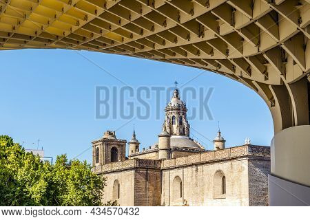 Anunciation Church Taken From Setas De Sevilla Landmark In Seville, Andalusia, Spain