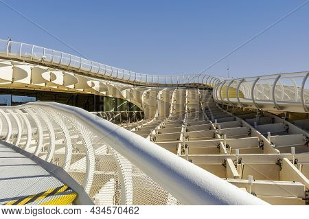 Architectural Detail Of Setas De Sevilla - Wooden Roof With Walkways On The Top With Amazing Panoram