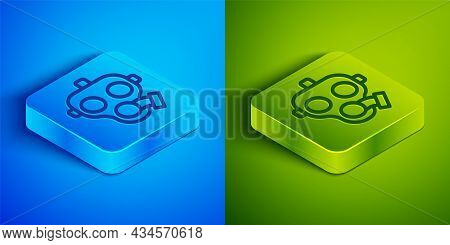 Isometric Line Gas Mask Icon Isolated On Blue And Green Background. Respirator Sign. Square Button.
